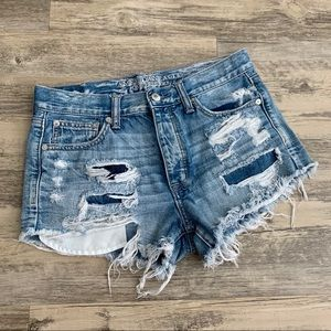 American Eagle Hi-Rise Distressed Denim Shorts 4